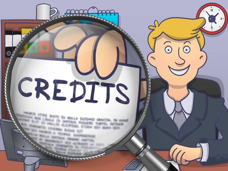 borrowing money: Credits through Magnifying Glass. Officeman Showing Paper with Concept. Closeup View. Multicolor Doodle Illustration. Stock Photo