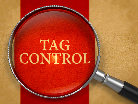 descriptor: Tag Control through Lens on Old Paper with Crimson Vertical Line Background. 3D Render. Stock Photo