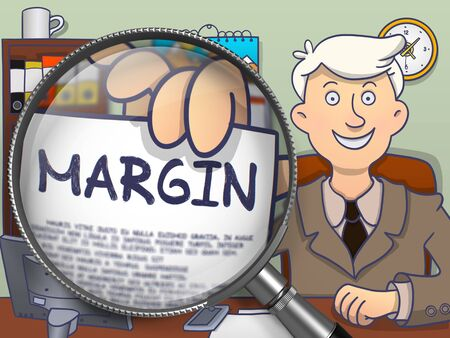 margin: Margin. Young Businessman in Office Workplace Showing Paper with Text through Lens. Colored Modern Line Illustration in Doodle Style.