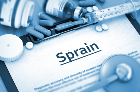 sprain: Sprain Diagnosis, Medical Concept. Composition of Medicaments. Sprain - Medical Report with Composition of Medicaments - Pills, Injections and Syringe. 3D. Stock Photo