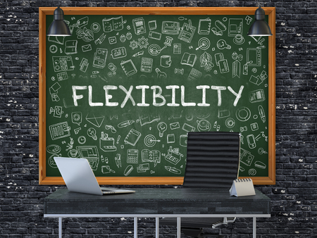 suppleness: Green Chalkboard on the Dark Brick Wall in the Interior of a Modern Office with Hand Drawn Flexibility. Business Concept with Doodle Style Elements. 3D. Stock Photo
