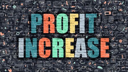 profitability: Profit Increase Concept. Modern Illustration. Multicolor Profit Increase Drawn on Dark Brick Wall. Doodle Icons. Doodle Style of  Profit Increase Concept. Profit Increase on Wall.