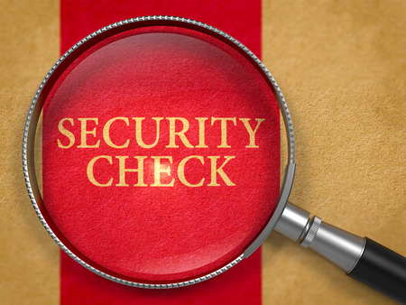 security check: Security Check Concept through Magnifier on Old Paper with Dark Red Vertical Line Background. 3D Render. Stock Photo