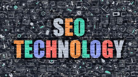 metasearch: SEO Technology Concept. Modern Illustration. Multicolor SEO Technology Drawn on Dark Brick Wall. Doodle Icons. Doodle Style of  SEO Technology Concept. SEO Technology on Wall.