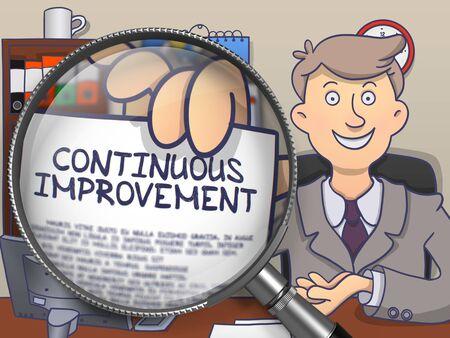 Continuous Improvement through Lens. Businessman Showing a Paper with Concept. Closeup View. Multicolor Doodle Illustration. Stock Photo