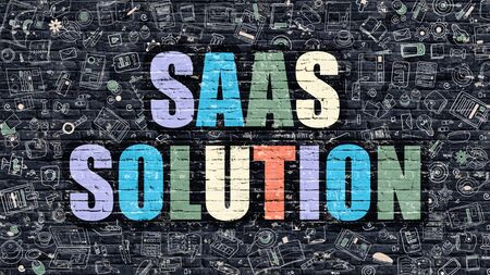 saas: SAAS Solution Concept. Modern Illustration. Multicolor SAAS Solution Drawn on Dark Brick Wall. Doodle Icons. Doodle Style of SAAS Solution Concept. SAAS Solution on Wall. Stock Photo