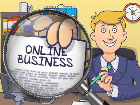 web portal: Online Business. Officeman Showing Text on Paper through Magnifier. Colored Modern Line Illustration in Doodle Style. Stock Photo