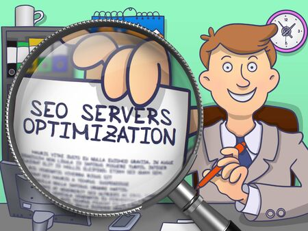 hypertext: SEO Servers Optimization on Paper in Mans Hand through Magnifying Glass to Illustrate a Business Concept. Multicolor Modern Line Illustration in Doodle Style.
