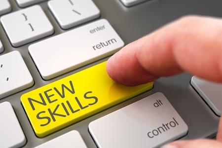 learning new skills: New Skills Concept - Modern Keyboard with Keypad. Finger Pushing New Skills Button on Modern Keyboard. New Skills - Slim Aluminum Keyboard Concept. 3D Illustration.