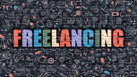 self employed: Freelancing Concept. Freelancing Drawn on Dark Wall. Freelancing in Multicolor. Freelancing Concept. Modern Illustration in Doodle Design of Freelancing. Stock Photo