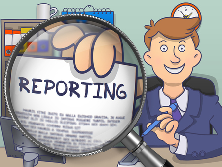 the reporting: Reporting on Paper in Officemans Hand to Illustrate a Business Concept. Closeup View through Magnifying Glass. Multicolor Modern Line Illustration in Doodle Style. Stock Photo