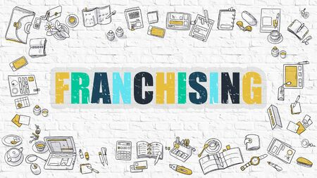 franchising: Franchising. Multicolor Inscription on White Brick Wall with Doodle Icons Around. Franchising Concept. Modern Style Illustration with Doodle Design Icons. Franchising on White Brickwall Background.