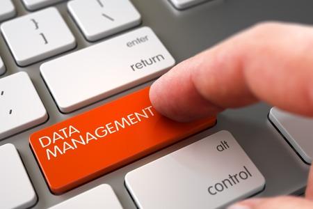 data management: Man Finger Pressing Data Management Key on Slim Aluminum Keyboard. Hand Finger Press Data Management Key. Hand Pushing Data Management Orange Modernized Keyboard Key. 3D Illustration.