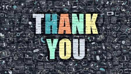 thank you very much: Thank You. Multicolor Inscription on Dark Brick Wall with Doodle Icons Around. Thank You Concept. Modern Style Illustration with Doodle Design Icons. Thank You on Dark Brickwall Background.