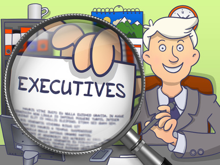 headman: Business Man Showing Text on Paper Executives. Closeup View through Magnifier. Multicolor Doodle Illustration. Stock Photo