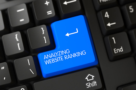 categorize: Button Analyzing Website Ranking on Black Keyboard. Analyzing Website Ranking on Modernized Keyboard Background. Analyzing Website Ranking Written on a Large Blue Button of a PC Keyboard. 3D.