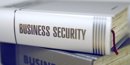 stocktaking: Business Security - Closeup of the Book Title. Closeup View. Stack of Books with Title - Business Security. Closeup View. Business Security - Book Title. Blurred 3D Rendering. Stock Photo