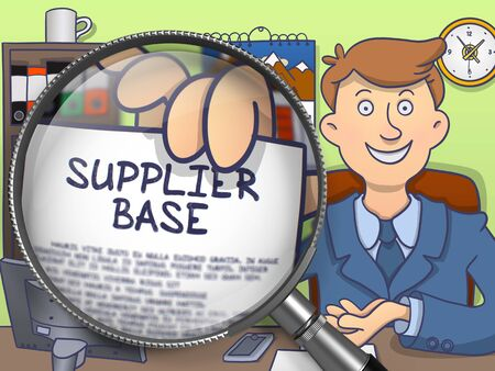 supplier: Officeman in Suit Looking at Camera and Showing a Paper with Concept Supplier Base through Lens. Closeup View. Multicolor Doodle Style Illustration.