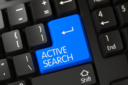 rummage: Active Search Concept: Modern Keyboard with Active Search on Blue Enter Key Background, Selected Focus. Modern Laptop Keyboard with the words Active Search on Blue Key. 3D Illustration. Stock Photo