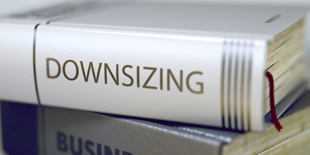 cutback: Book Title on the Spine - Downsizing. Closeup View. Stack of Books. Downsizing - Book Title on the Spine. Closeup View. Stack of Business Books. Toned Image with Selective focus. 3D Illustration. Stock Photo