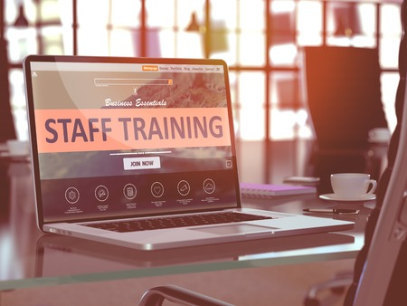 staff training: Staff Training Concept - Closeup on Laptop Screen in Modern Office Workplace. Toned Image with Selective Focus. 3D Render. Stock Photo