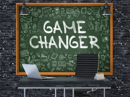 new rules: Green Chalkboard on the Dark Brick Wall in the Interior of a Modern Office with Hand Drawn Game Changer. Business Concept with Doodle Style Elements. 3D. Stock Photo