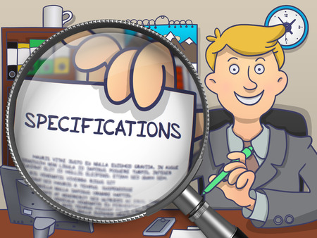 out of use: Specifications. Stylish Man Welcomes in Office and Showing Text on Paper through Lens. Colored Doodle Style Illustration. Stock Photo
