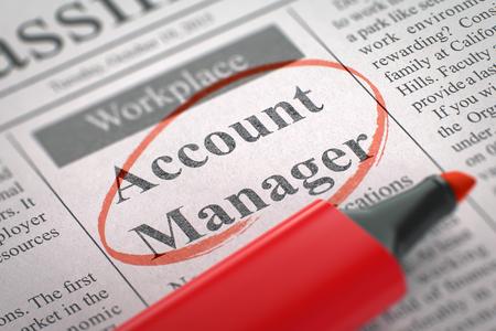 Account Manager - Stellen in Zeitung, eingekreist mit einer roten Markierung. Buchhalter. Zeitung mit der Vakanz, eingekreist mit einem roten Leuchtmarker. Unscharfes Bild. Selektiver Fokus. Mieten Konzept. 3D.
