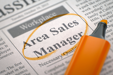 sales manager: Area Sales Manager - Small Ads of Job Search in Newspaper, Circled with a Orange Highlighter. Blurred Image with Selective focus. Concept of Recruitment. 3D Rendering.