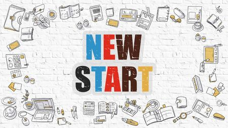 new start: New Start - Multicolor Concept with Doodle Icons Around on White Brick Wall Background. Modern Illustration with Elements of Doodle Design Style.