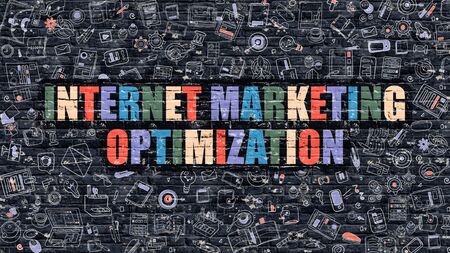 monetizing: Internet Marketing Optimization. Multicolor Inscription on Dark Brick Wall with Doodle Icons. Internet Marketing Optimization Concept. Modern Style Illustration with Doodle Icons. Stock Photo