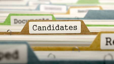 Candidates Concept on File Label in Multicolor Card Index. Closeup View. Selective Focus. 3D Render.