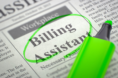 classifieds: Newspaper with Jobs Billing Assistant. Billing Assistant. Newspaper with the Jobs Section Vacancy, Circled with a Green Highlighter. Blurred Image. Selective focus. Concept of Recruitment. 3D. Stock Photo