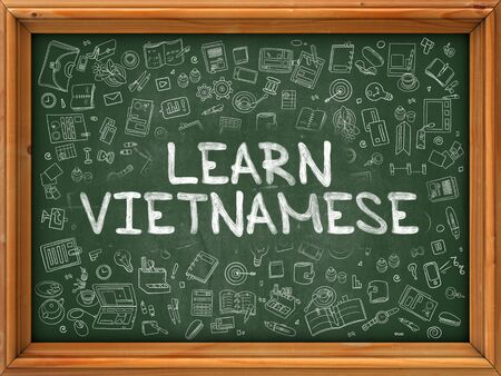 polyglot: Learn Vietnamese - Hand Drawn on Green Chalkboard with Doodle Icons Around. Modern Illustration with Doodle Design Style.