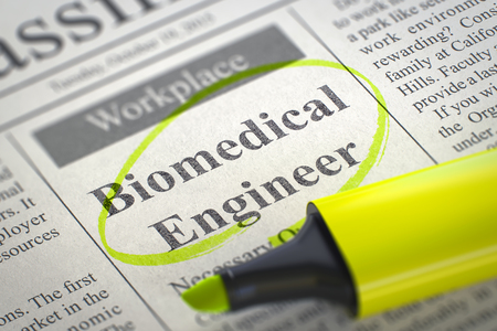biomedical: Biomedical Engineer - Vacancy in Newspaper, Circled with a Yellow Marker. Blurred Image. Selective focus. Job Search Concept. 3D.