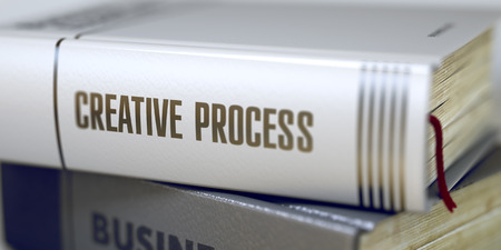 originative: Creative Process - Business Book Title. Stack of Books with Title - Creative Process. Closeup View. Stack of Books Closeup and one with Title - Creative Process. Blurred 3D.