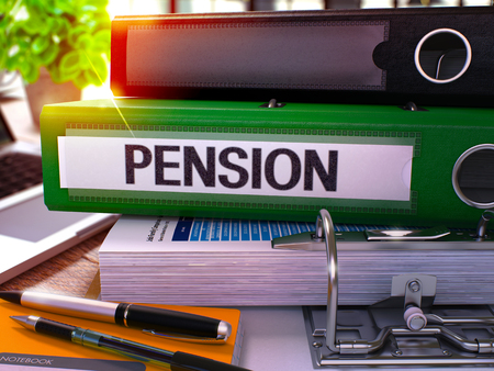 subsidize: Pension - Green Office Folder on Background of Working Table with Stationery and Laptop. Pension Business Concept on Blurred Background. Pension Toned Image. 3D. Stock Photo