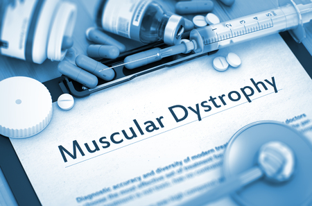 myopathy: Muscular Dystrophy - Medical Report with Composition of Medicaments - Pills, Injections and Syringe. 3D. Stock Photo
