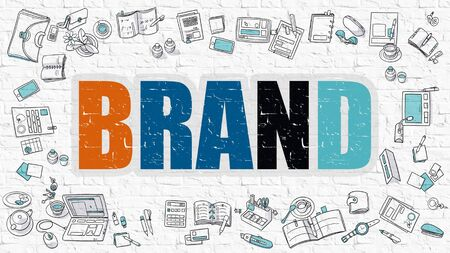 competitividad: Brand Concept. Brand Drawn on White Wall. Brand in Multicolor. Doodle Design. Modern Style Illustration. Doodle Design Style of Brand. Line Style Illustration. White Brick Wall.