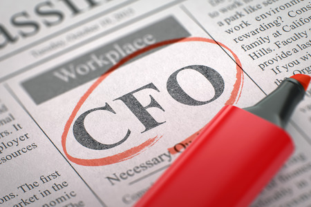 cfo: CFO - Jobs Section Vacancy in Newspaper, Circled with a Red Marker. Blurred Image. Selective focus. Job Seeking Concept. 3D.