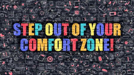 Stap uit je comfort zone Concept. Moderne Illustratie. Multicolor Stap uit je comfort zone Getrokken op Dark Brick Wall. Pictogrammen doodle. Doodle Style of Stap uit je comfort zone Concept.