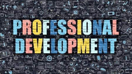 professional development: Professional Development Concept. Professional Development Drawn on Dark Wall. Professional Development in Multicolor. Professional Development Concept in Modern Doodle Style. Stock Photo