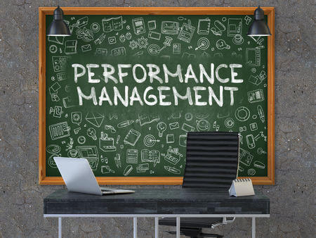 throughput: Green Chalkboard on the Dark Old Concrete Wall in the Interior of a Modern Office with Hand Drawn Performance Management. Business Concept with Doodle Style Elements. 3D.