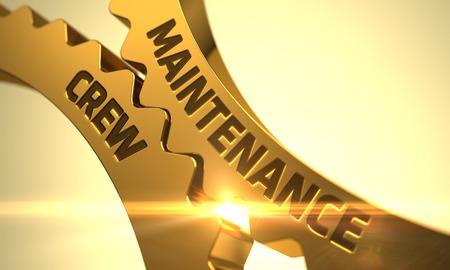 qualitatively: Maintenance Crew - Concept. Maintenance Crew Golden Metallic Gears. Maintenance Crew on Mechanism of Golden Cogwheels. Maintenance Crew - Illustration with Lens Flare. 3D.
