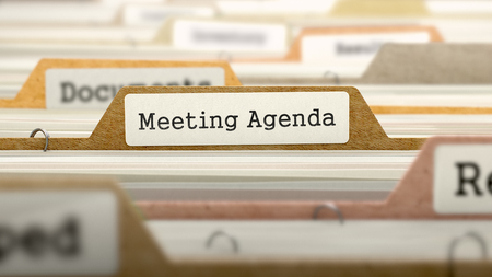 meeting agenda: Meeting Agenda Concept. Colored Document Folders Sorted for Catalog. Closeup View. Selective Focus. 3D Render. Stock Photo