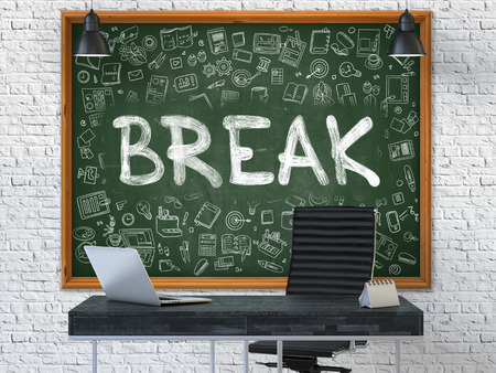 interruption: Hand Drawn Break on Green Chalkboard. Modern Office Interior. White Brick Wall Background. Business Concept with Doodle Style Elements. 3D.