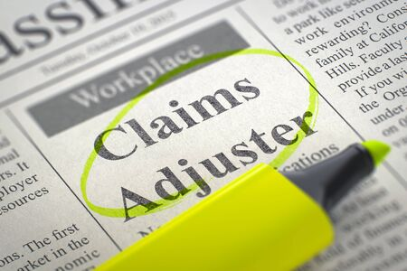 public insurance: Newspaper with Classified Advertisement of Hiring Claims Adjuster. Blurred Image with Selective focus. Hiring Concept. 3D Render. Stock Photo