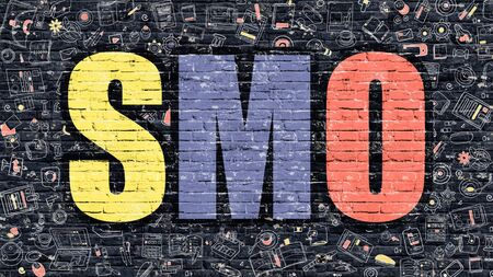 smo: SMO - Multicolor Concept on Dark Brick Wall Background with Doodle Icons Around. Modern Illustration with Elements of Doodle Design Style. SMO Concept. SMO - Social Media Optimization.