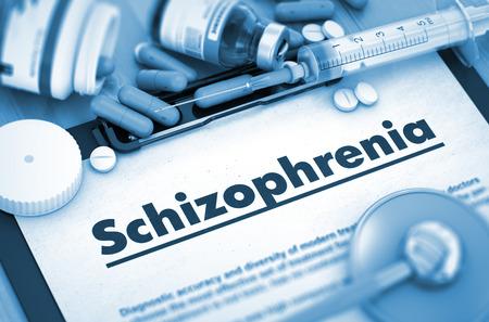 esquizofrenia: Diagnóstico - Esquizofrenia en el fondo de Medicamentos Composición - píldoras, inyecciones y jeringuilla. Render 3D.