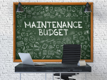 unplanned: Hand Drawn Maintenance Budget on Green Chalkboard. Modern Office Interior. White Brick Wall Background. Business Concept with Doodle Style Elements. 3D.